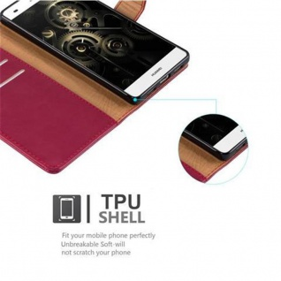 Cadorabo Hülle für Huawei P8 LITE 2015 in WEIN ROT - Handyhülle mit Magnetverschluss, Standfunktion und Kartenfach - Case Cover Schutzhülle Etui Tasche Book Klapp Style - Vorschau 3