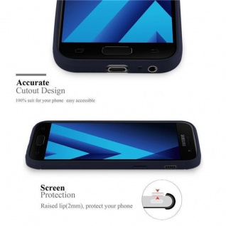 Cadorabo Hülle für Samsung Galaxy A3 2017 (7) - Hülle in BRUSHED BLAU - Handyhülle aus TPU Silikon in Edelstahl-Karbonfaser Optik - Silikonhülle Schutzhülle Ultra Slim Soft Back Cover Case Bumper - Vorschau 2