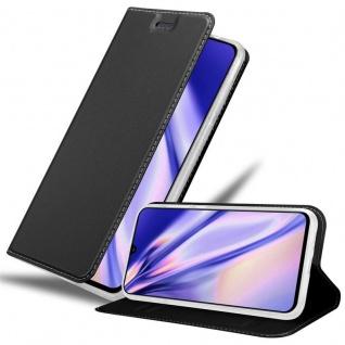 Cadorabo Hülle für Samsung Galaxy A90 5G in CLASSY SCHWARZ Handyhülle mit Magnetverschluss, Standfunktion und Kartenfach Case Cover Schutzhülle Etui Tasche Book Klapp Style