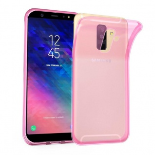 Cadorabo Hülle für Samsung Galaxy A6 PLUS 2018 in TRANSPARENT PINK Handyhülle aus flexiblem TPU Silikon Silikonhülle Schutzhülle Ultra Slim Soft Back Cover Case Bumper
