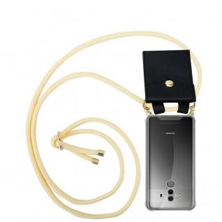Cadorabo Handy Kette für Huawei MATE 10 PRO in CREME BEIGE - Silikon Necklace Umhänge Hülle mit Gold Ringen, Kordel Band Schnur und abnehmbarem Etui ? Schutzhülle