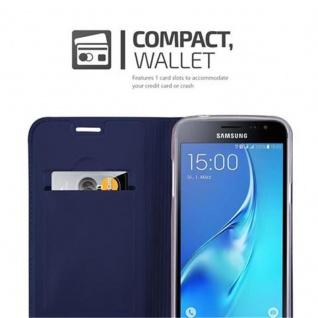 Cadorabo Hülle für Samsung Galaxy J3 2016 in CLASSY DUNKEL BLAU - Handyhülle mit Magnetverschluss, Standfunktion und Kartenfach - Case Cover Schutzhülle Etui Tasche Book Klapp Style - Vorschau 3