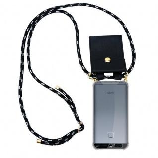 Cadorabo Handy Kette für Huawei P9 in SCHWARZ SILBER Silikon Necklace Umhänge Hülle mit Gold Ringen, Kordel Band Schnur und abnehmbarem Etui Schutzhülle