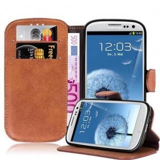 Cadorabo Hülle für Samsung Galaxy S3 / S3 NEO - Hülle in MATT BRAUN ? Handyhülle mit Standfunktion und Kartenfach im Retro Design - Case Cover Schutzhülle Etui Tasche Book Klapp Style