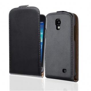 Cadorabo Hülle für Samsung Galaxy CORE 4G in KAVIAR SCHWARZ - Handyhülle im Flip Design aus glattem Kunstleder - Case Cover Schutzhülle Etui Tasche Book Klapp Style