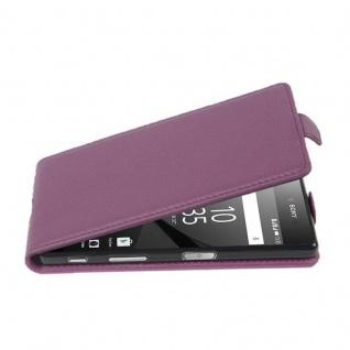 Cadorabo Hülle für Sony Xperia Z5 PREMIUM - Hülle in BORDEAUX LILA ? Handyhülle aus strukturiertem Kunstleder im Flip Design - Case Cover Schutzhülle Etui Tasche
