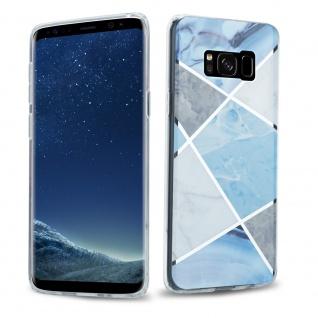 Cadorabo Hülle für Samsung Galaxy S8 Hülle in Blau weiß grau Marmor No.2 Handyhülle aus TPU Silikon mit Muster Mosaik Silikonhülle Schutzhülle Ultra Slim Back Cover Case Bumper