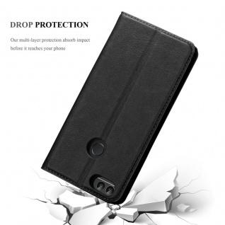 Cadorabo Hülle für Huawei P SMART 2018 / Enjoy 7S in NACHT SCHWARZ - Handyhülle mit Magnetverschluss, Standfunktion und Kartenfach - Case Cover Schutzhülle Etui Tasche Book Klapp Style - Vorschau 5