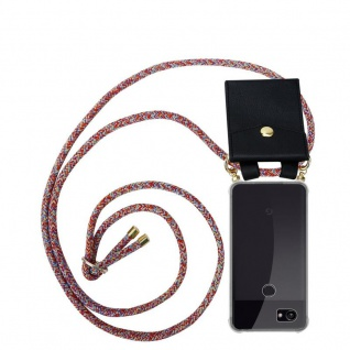 Cadorabo Handy Kette für Google Pixel 2 XL in COLORFUL PARROT - Silikon Necklace Umhänge Hülle mit Gold Ringen, Kordel Band Schnur und abnehmbarem Etui ? Schutzhülle