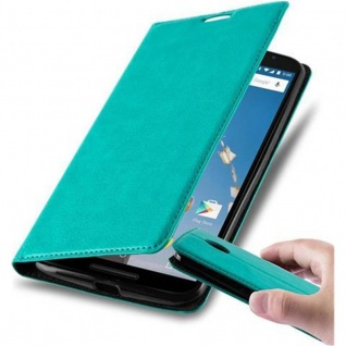 Cadorabo Hülle für Lenovo Google NEXUS 6 / 6X in PETROL TÜRKIS - Handyhülle mit Magnetverschluss, Standfunktion und Kartenfach - Case Cover Schutzhülle Etui Tasche Book Klapp Style