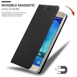 Cadorabo Hülle für Samsung Galaxy A8 2015 in CLASSY SCHWARZ - Handyhülle mit Magnetverschluss, Standfunktion und Kartenfach - Case Cover Schutzhülle Etui Tasche Book Klapp Style - Vorschau 3