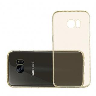 Cadorabo Hülle für Samsung Galaxy S7 EDGE - Hülle in TRANSPARENT GOLD ? Handyhülle aus TPU Silikon im Strass Design - Silikonhülle Schutzhülle Ultra Slim Soft Back Cover Case Bumper - Vorschau 4