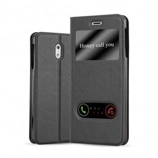 Cadorabo Hülle für Nokia 3 2017 in KOMETEN SCHWARZ - Handyhülle mit Magnetverschluss, Standfunktion und 2 Sichtfenstern - Case Cover Schutzhülle Etui Tasche Book Klapp Style