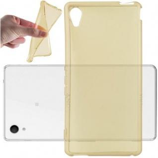 Cadorabo Hülle für Sony Xperia M4 AQUA in TRANSPARENT GOLD - Handyhülle aus flexiblem TPU Silikon - Silikonhülle Schutzhülle Ultra Slim Soft Back Cover Case Bumper