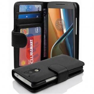 Cadorabo Hülle für Motorola MOTO G4 / G4 PLUS in OXID SCHWARZ ? Handyhülle mit Magnetverschluss und 3 Kartenfächern ? Case Cover Schutzhülle Etui Tasche Book Klapp Style