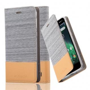 Cadorabo Hülle für Nokia 2 2017 - Hülle in HELL GRAU BRAUN ? Handyhülle mit Standfunktion und Kartenfach im Stoff Design - Case Cover Schutzhülle Etui Tasche Book