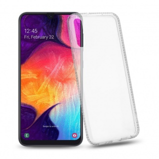 Cadorabo Hülle für Samsung Galaxy A50 - Hülle in TRANSPARENT WEIß ? Handyhülle aus TPU Silikon im Strass Design - Silikonhülle Schutzhülle Ultra Slim Soft Back Cover Case Bumper