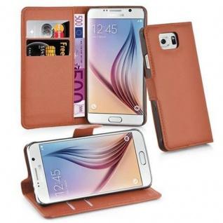 Cadorabo Hülle für Samsung Galaxy S6 in SCHOKO BRAUN - Handyhülle mit Magnetverschluss, Standfunktion und Kartenfach - Case Cover Schutzhülle Etui Tasche Book Klapp Style