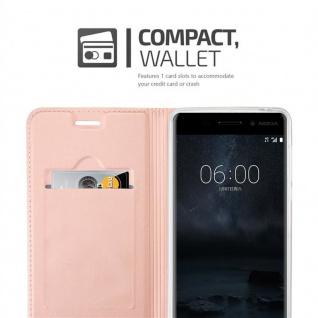 Cadorabo Hülle für Nokia 6 2017 in CLASSY ROSÉ GOLD - Handyhülle mit Magnetverschluss, Standfunktion und Kartenfach - Case Cover Schutzhülle Etui Tasche Book Klapp Style - Vorschau 3