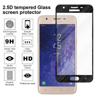 Cadorabo Vollbild Panzer Folie für Samsung Galaxy J3 2018 - Schutzfolie in TRANSPARENT mit SCHWARZ - Gehärtetes (Tempered) Display-Schutzglas in 9H Härte mit 3D Touch Kompatibilität - Vorschau 4