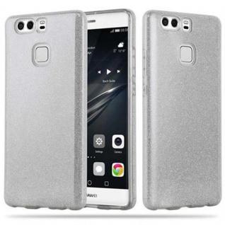 Cadorabo Hülle für Huawei P9 - Hülle in STERNENSTAUB SILBER - TPU Silikon und Hardcase Handyhülle im Glitzer Design - Hard Case TPU Silikon Schutzhülle