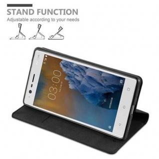 Cadorabo Hülle für Nokia 3 2017 in NACHT SCHWARZ - Handyhülle mit Magnetverschluss, Standfunktion und Kartenfach - Case Cover Schutzhülle Etui Tasche Book Klapp Style - Vorschau 4
