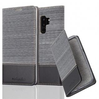 Cadorabo Hülle für Samsung Galaxy S9 PLUS in GRAU SCHWARZ - Handyhülle mit Magnetverschluss, Standfunktion und Kartenfach - Case Cover Schutzhülle Etui Tasche Book Klapp Style