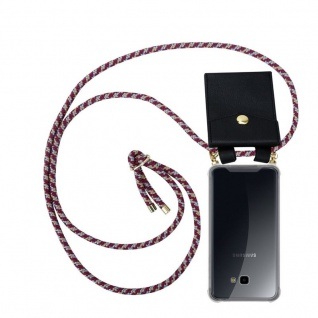 Cadorabo Handy Kette für Samsung Galaxy J4 PLUS in ROT GELB WEISS - Silikon Necklace Umhänge Hülle mit Gold Ringen, Kordel Band Schnur und abnehmbarem Etui ? Schutzhülle