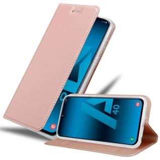Cadorabo Hülle für Samsung Galaxy A40 in CLASSY ROSÉ GOLD - Handyhülle mit Magnetverschluss, Standfunktion und Kartenfach - Case Cover Schutzhülle Etui Tasche Book Klapp Style