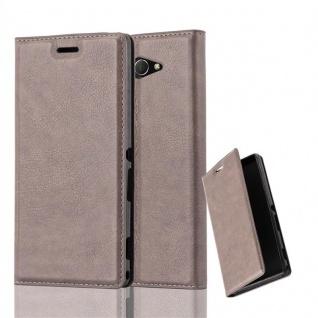 Cadorabo Hülle für Sony Xperia M2 AQUA in KAFFEE BRAUN - Handyhülle mit Magnetverschluss, Standfunktion und Kartenfach - Case Cover Schutzhülle Etui Tasche Book Klapp Style