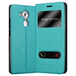 Cadorabo Hülle für Huawei MATE 8 in MINT TÜRKIS - Handyhülle mit Magnetverschluss, Standfunktion und 2 Sichtfenstern - Case Cover Schutzhülle Etui Tasche Book Klapp Style