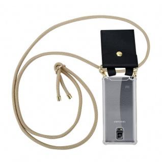 Cadorabo Handy Kette für Samsung Galaxy NOTE 4 in GLÄNZEND BRAUN - Silikon Necklace Umhänge Hülle mit Gold Ringen, Kordel Band Schnur und abnehmbarem Etui ? Schutzhülle