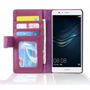 Cadorabo Hülle für Huawei P10 LITE in BORDEAUX LILA - Handyhülle mit Magnetverschluss und 3 Kartenfächern - Case Cover Schutzhülle Etui Tasche Book Klapp Style
