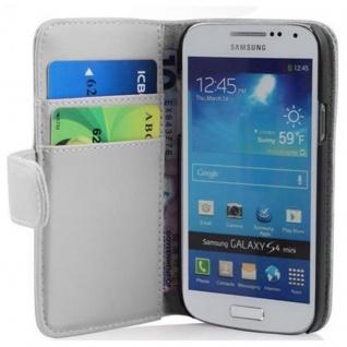 Cadorabo Hülle für Samsung Galaxy S4 MINI - Hülle in POLAR WEIß ? Handyhülle mit Kartenfach aus glattem Kunstleder - Case Cover Schutzhülle Etui Tasche Book Klapp Style
