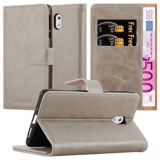 Cadorabo Hülle für Nokia 3 2017 in CAPPUCCINO BRAUN ? Handyhülle mit Magnetverschluss, Standfunktion und Kartenfach ? Case Cover Schutzhülle Etui Tasche Book Klapp Style