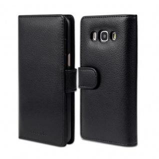Cadorabo Hülle für Samsung Galaxy J5 2016 in OXID SCHWARZ - Handyhülle mit Magnetverschluss und 3 Kartenfächern - Case Cover Schutzhülle Etui Tasche Book Klapp Style