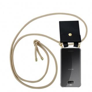 Cadorabo Handy Kette für Sony Xperia 10 in GLÄNZEND BRAUN - Silikon Necklace Umhänge Hülle mit Gold Ringen, Kordel Band Schnur und abnehmbarem Etui ? Schutzhülle