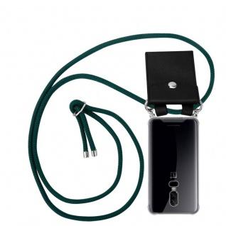 Cadorabo Handy Kette für OnePlus 6 in ARMEE GRÜN - Silikon Necklace Umhänge Hülle mit Silber Ringen, Kordel Band Schnur und abnehmbarem Etui - Schutzhülle