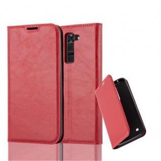 Cadorabo Hülle für LG K7 2017 in APFEL ROT - Handyhülle mit Magnetverschluss, Standfunktion und Kartenfach - Case Cover Schutzhülle Etui Tasche Book Klapp Style