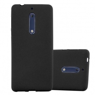 Cadorabo Hülle für Nokia 5 2017 in FROST SCHWARZ - Handyhülle aus flexiblem TPU Silikon - Silikonhülle Schutzhülle Ultra Slim Soft Back Cover Case Bumper