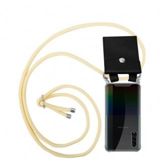 Cadorabo Handy Kette für Samsung Galaxy A90 5G in CREME BEIGE Silikon Necklace Umhänge Hülle mit Silber Ringen, Kordel Band Schnur und abnehmbarem Etui Schutzhülle