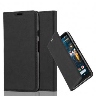 Cadorabo Hülle für Google Pixel 2 XL in NACHT SCHWARZ - Handyhülle mit Magnetverschluss, Standfunktion und Kartenfach - Case Cover Schutzhülle Etui Tasche Book Klapp Style