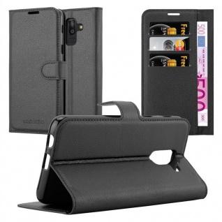 Cadorabo Hülle für Samsung Galaxy J8 2018 in PHANTOM SCHWARZ - Handyhülle mit Magnetverschluss, Standfunktion und Kartenfach - Case Cover Schutzhülle Etui Tasche Book Klapp Style