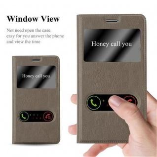 Cadorabo Hülle für Samsung Galaxy NOTE 3 in STEIN BRAUN ? Handyhülle mit Magnetverschluss, Standfunktion und 2 Sichtfenstern ? Case Cover Schutzhülle Etui Tasche Book Klapp Style - Vorschau 3