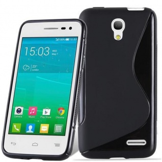 Cadorabo Hülle für Alcatel One Touch POP S3 in OXID SCHWARZ ? Handyhülle aus flexiblem TPU Silikon ? Silikonhülle Schutzhülle Ultra Slim Soft Back Cover Case Bumper
