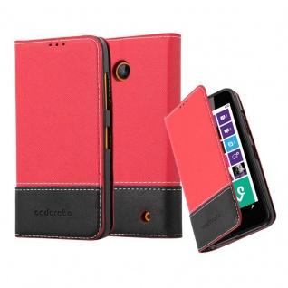 Cadorabo Hülle für Nokia Lumia 630 in ROT SCHWARZ Handyhülle mit Magnetverschluss, Standfunktion und Kartenfach Case Cover Schutzhülle Etui Tasche Book Klapp Style