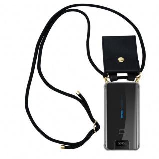 Cadorabo Handy Kette für Asus ZenFone 6 in SCHWARZ - Silikon Necklace Umhänge Hülle mit Gold Ringen, Kordel Band Schnur und abnehmbarem Etui ? Schutzhülle