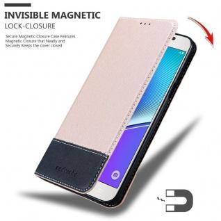 Cadorabo Hülle für Samsung Galaxy NOTE 5 in ROSÉ GOLD SCHWARZ ? Handyhülle mit Magnetverschluss, Standfunktion und Kartenfach ? Case Cover Schutzhülle Etui Tasche Book Klapp Style - Vorschau 3