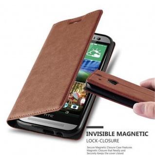 Cadorabo Hülle für HTC ONE M8 (2.Generation) in CAPPUCCINO BRAUN - Handyhülle mit Magnetverschluss, Standfunktion und Kartenfach - Case Cover Schutzhülle Etui Tasche Book Klapp Style