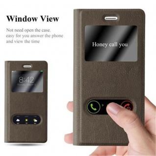 Cadorabo Hülle für Huawei P8 LITE 2015 in STEIN BRAUN ? Handyhülle mit Magnetverschluss, Standfunktion und 2 Sichtfenstern ? Case Cover Schutzhülle Etui Tasche Book Klapp Style - Vorschau 2